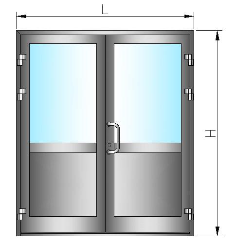 Двухстворчатая алюминиевая дверь